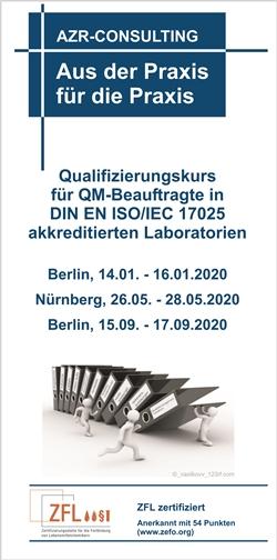 Qualifizierungskurs für QM-Beauftragte in DIN EN ISO/IEC 17025 akkreditierten Laboratorien