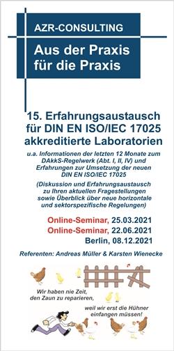 15. Erfahrungsaustausch für DIN EN ISO/IEC 17025 akkreditierte Laboratorien