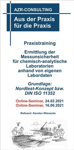 Praxistraining Ermittlung der Messunsicherheit für chemisch-analytische Laboratorien anhand von eigenen Labordaten