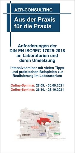Anforderungen der DIN EN ISO/IEC 17025:2018 an Laboratorien und deren Umsetzung – Intensivseminar